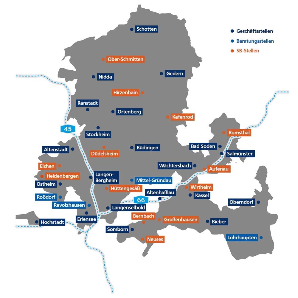 Geschäftsgebiet der VR Bank Main-Kinzig-Büdingen eG, Schotten, Ulfa, Ober-Schmitten, Nidda, Gedern, Hirzenhain, Wenings, Ranstadt, Ortenberg, Ober-Mockstadt, Kefenrod, Bleichenbach, Stockheim, Altenstadt, Düdelsheim, Büdingen, Erbstadt, Rommelhausen, Eichen, Heldenbergen, Ostheim, Roßdorf, Ravolzhausen, Langendiebach, Rückingen, Maintal, Somborn, Langenselbold, Marköbel, Langen-Bergheim, Hüttengesäß, Mittel-Gründau, Bernbach, Neues, Altenmittlau, Großenhausen, Eidengesäß, Höchst, Altenhaßlau, Eidengesäß, Kassel, Bieber, Kempfenbrunn, Lohrhaupten, Oberndorf, Wirtheim, Aufenau, Wächtersbach, Salmünster, Bad Soden, Romsthal