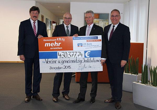 Förderbilanz 2015 der VR Bank Main-Kinzig-Büdingen